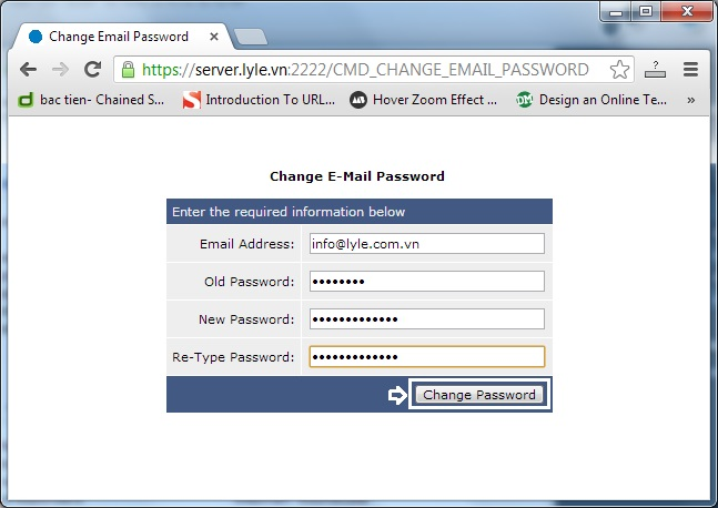 Đổi password email